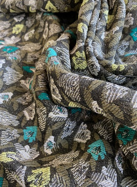 khaki flowers - geweven jacquard