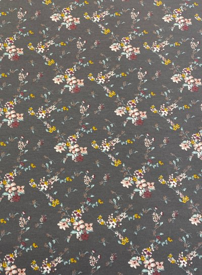 grey little flowers - french terry