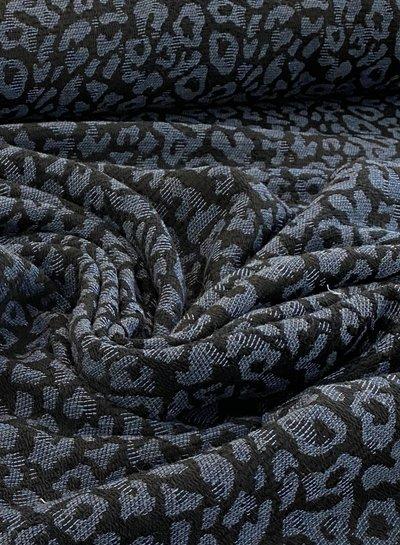 leopard blue woven jacquard