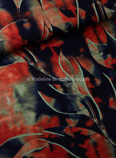rood en marine crepe