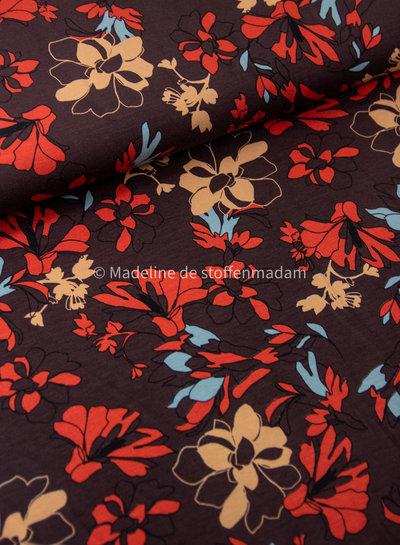 roest bloemen met een blauwe touch - viscose jersey