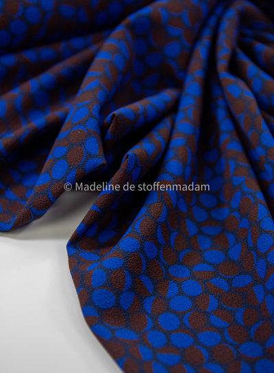 A La Ville kobaltblauw en roestkleurige dots - crepe