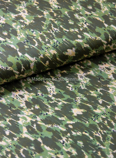 african printed - green cotton voile