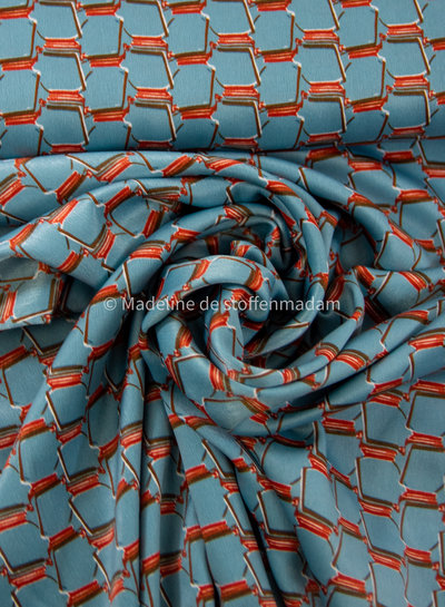 ice blue  geometric print- supple satin with some stretch