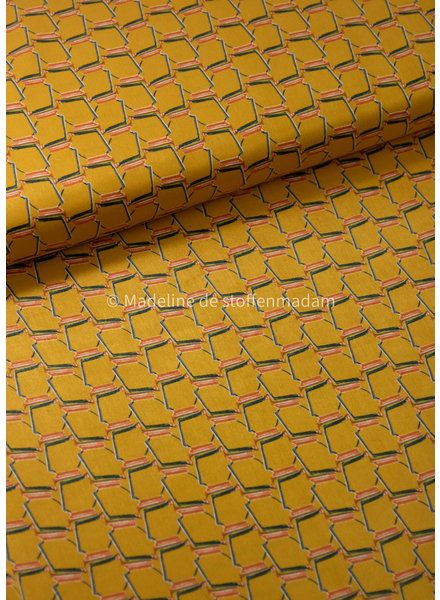 ochre geometric print- supple satin with some stretch