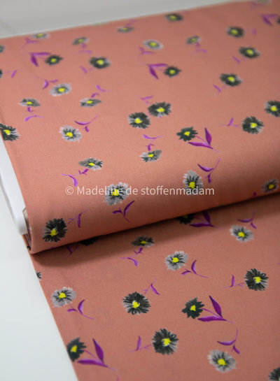 kleine roze bloemen - viscose