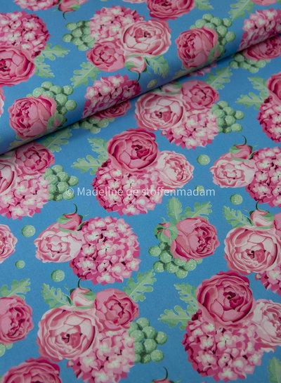 Swafing ijsblauw roze bloemen - katoen