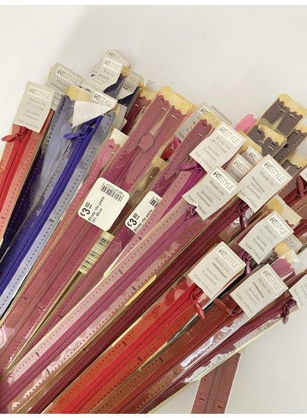 Stockverkoop pakket met 10 blinde ritsen - 40 cm (naadrits)