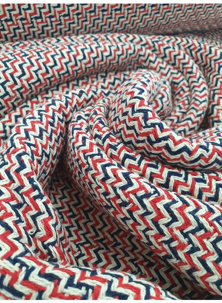 red and blue - soft woven jacquard