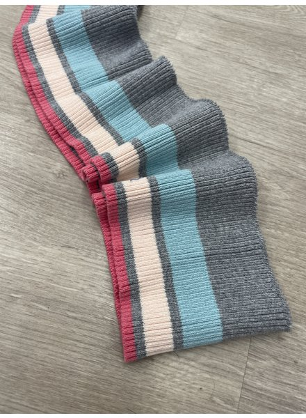 001  - package of 5 meter grey / salmon / turquoise striped 8 cm height