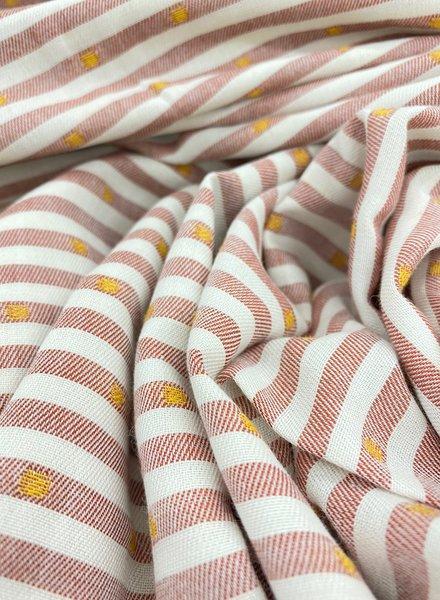 Ocre dots and stripes - beautiful viscose