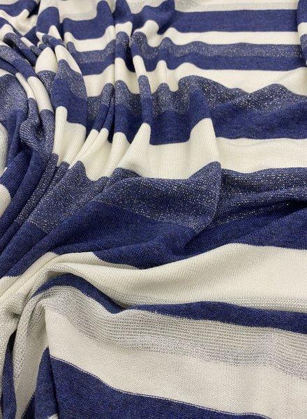 marineblauw en wit gestreepte viscose jersey - met een mooi zilverkleurig accent