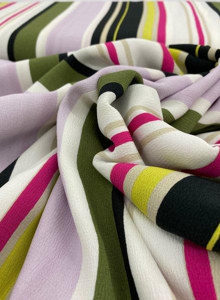 khaki and lilac stripes - crepe