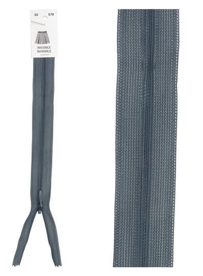 invisible zipper -  grey blue color 579