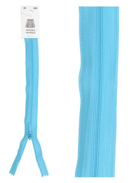 invisible zipper - light  turquoise color 833