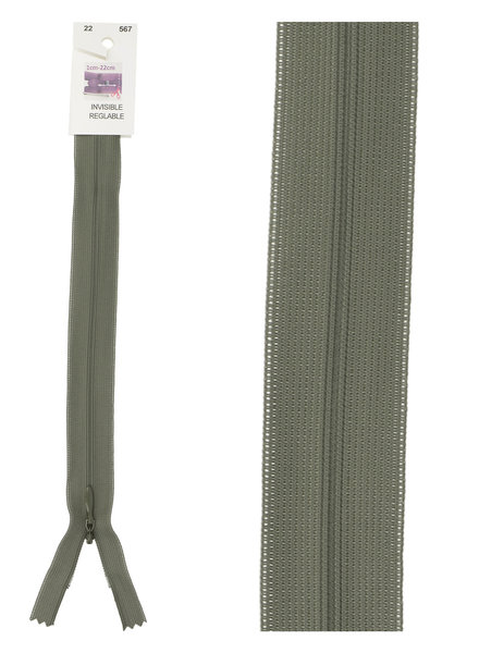 invisible zipper -khaki green  color 567