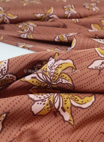 bruin bloemen - satijn