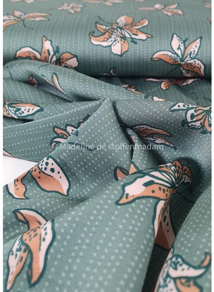 khaki bloemen - satijn