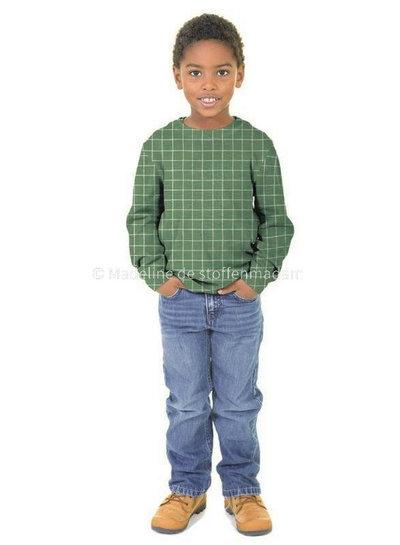 vierkantjes roest - soft sweater gots label