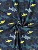 shark attack marineblauw - tricot