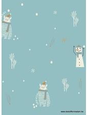 sneeuwman - gelamineerd katoen / regenjas stof