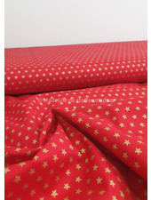 red with golden stars - Christmas cotton