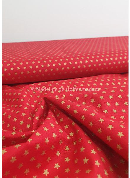 rood met gouden sterretjes - Kerst katoentje
