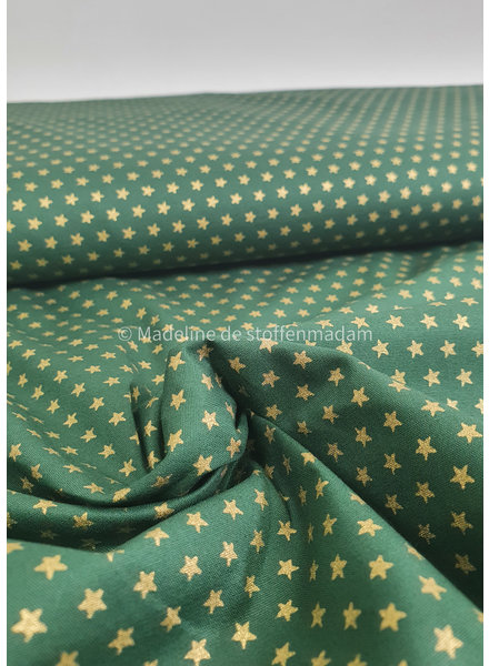 green with golden stars - Christmas cotton
