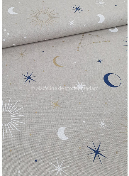moon and stars - canvas