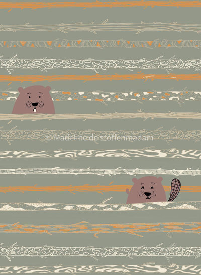 beaver tooth & trees - poplin cotton