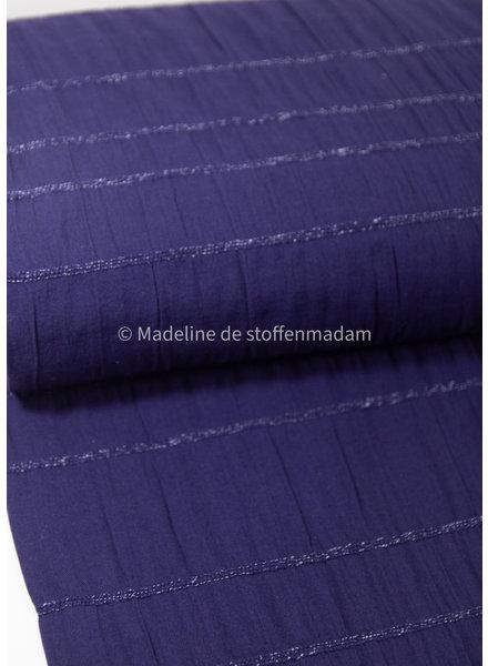 kobalt - katoen met geborduurde lijnen