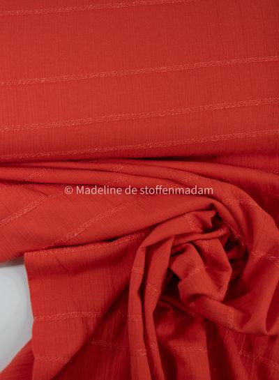 donker oranje - katoen met geborduurde lijnen