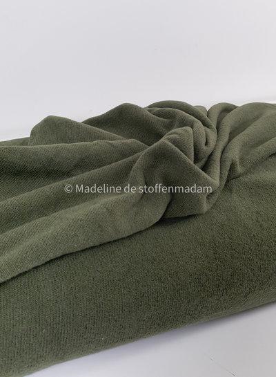 khaki gebreide stof van Italiaanse makelij  - Bene