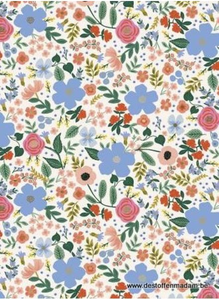 RIFLE PAPER Primavera - Wild Rose - Cream Metallic - katoen