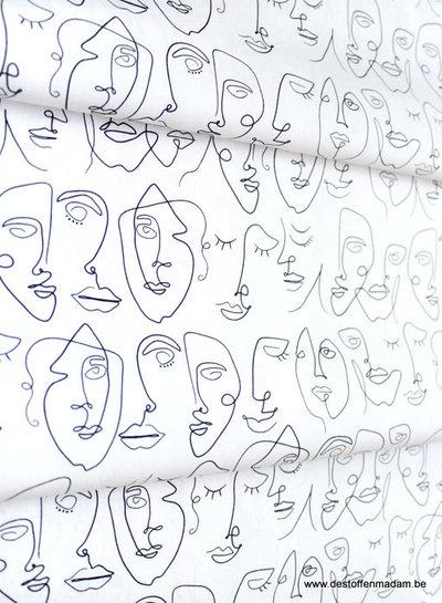 ART GALLERY FABRICS Luna & Laurel - faces - katoen