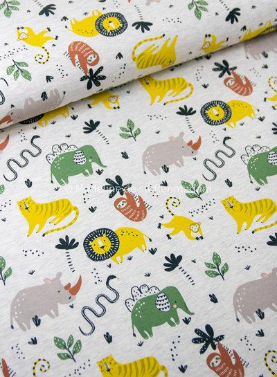 ecru wild animals - tricot