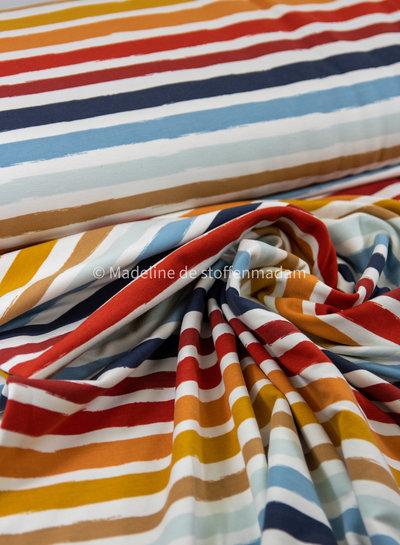 ecru/blauw stripes - french terry