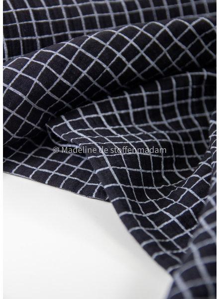 Swafing black squares - tetra double gauze