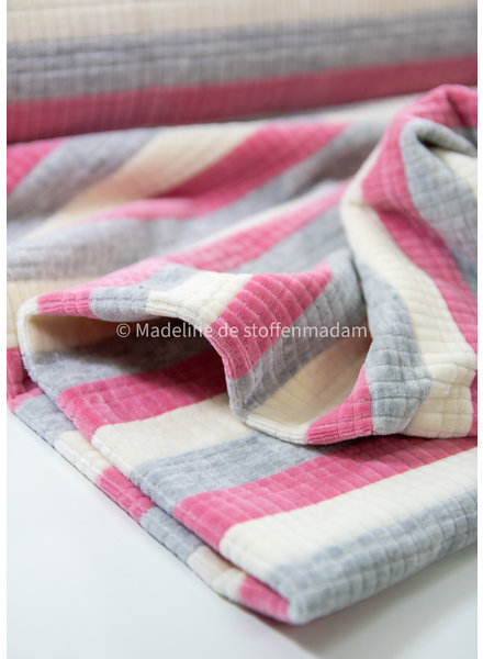 M pink striped  - textured nicky velours