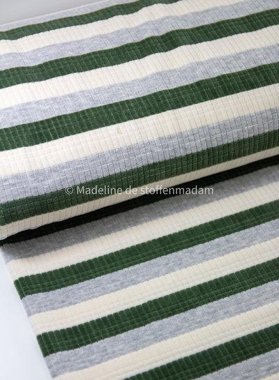 groen gestreept met textuur - nicky velours