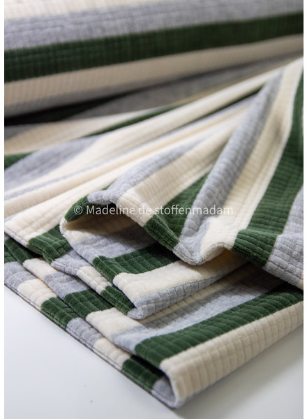 M green striped  - textured nicky velours