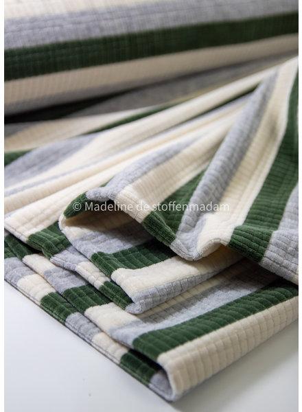 M groen gestreept met textuur - nicky velours