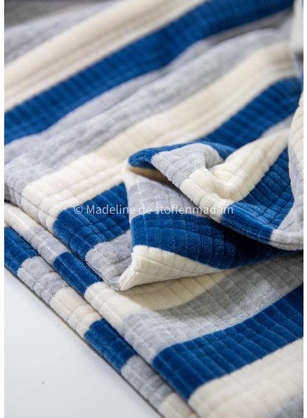 blauw gestreept met textuur - nicky velours