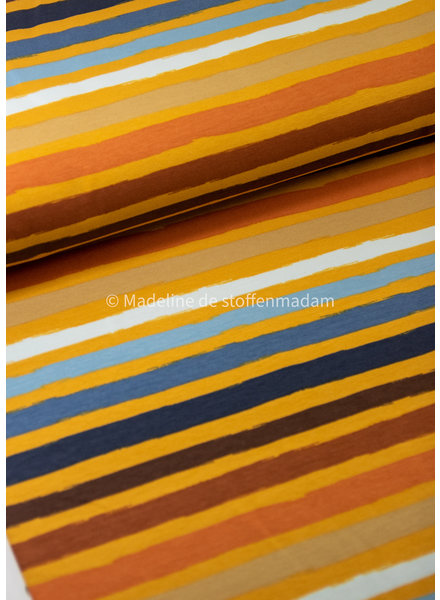 mutard blue stripes - french terry