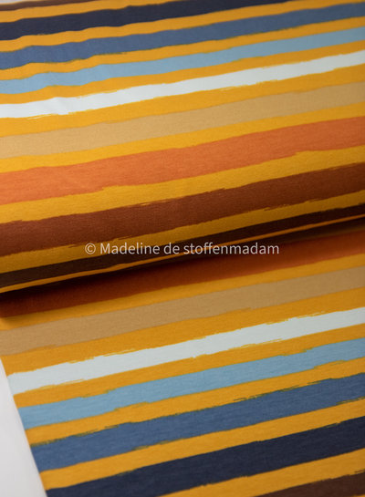 mosterd blauw strepen - french terry