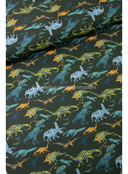 green dinosaurs - cotton