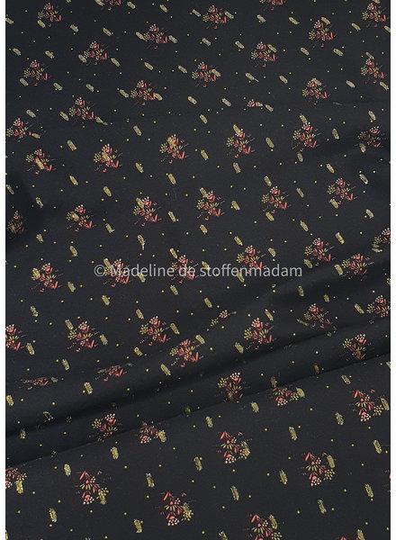 zwart bloemen lurex - viscose