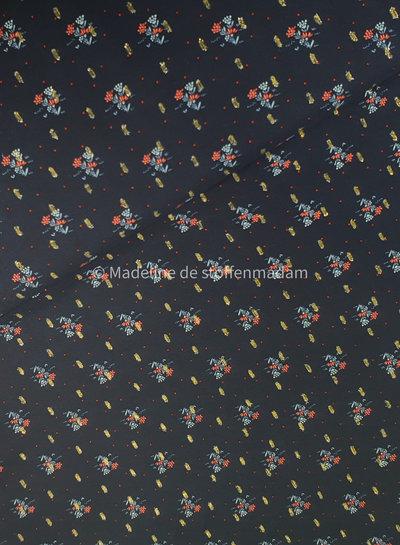 blauw bloemen lurex - viscose