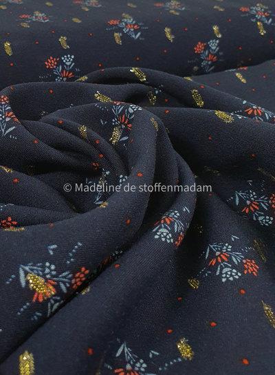 navy flowers lurex - viscose
