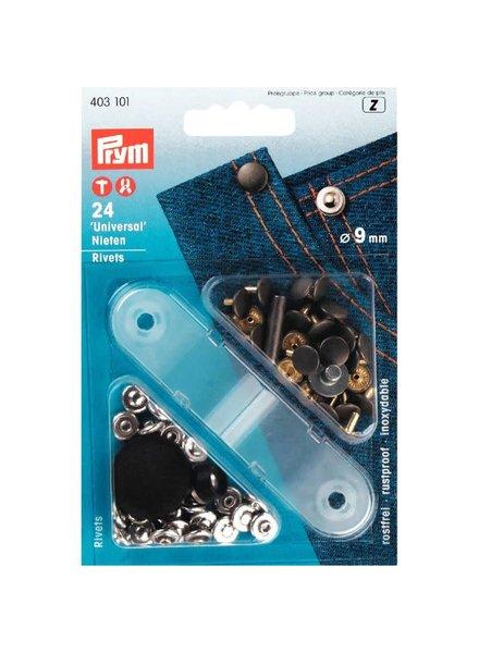 Prym denim siernieten / rivetten - zilver - 9 mm